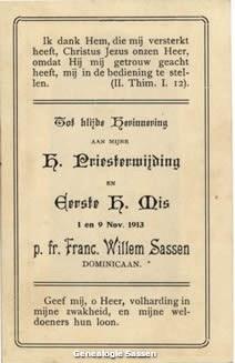 H. Priesterwijding Hendrikus Josephus Hubertus Willem Sassen O.P. (tekst)