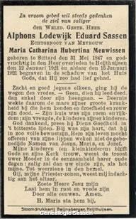 bidprentje Alphons Lodewijk Eduard Sassen (tekst)