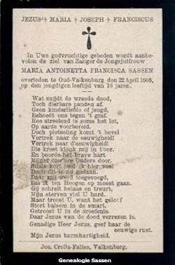 bidprentje Maria Antoinette Francisca Sassen (tekst)