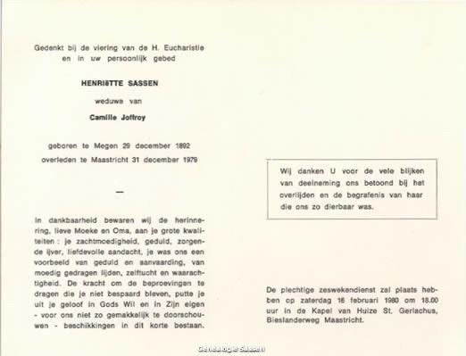 bidprentje Joanna Hendrica Antoinette Maria Sassen (tekst)