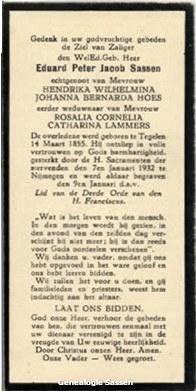 bidprentje Edouard Pieter Jacob Sassen (tekst)