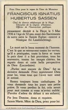 bidprentje Franciscus Ignatius Hubertus Sassen (text)