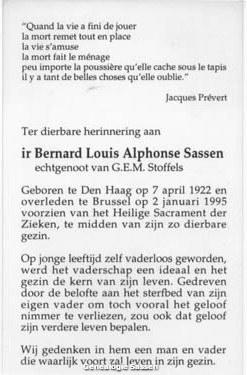 bidprentje Ir. Bernard Louis Alphonse Sassen (tekst)