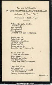 bidprentje Antoinette Marie Catharine Rosalie Sassen (tekst)