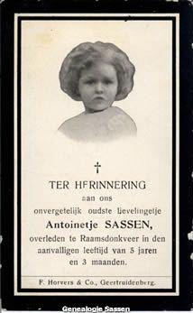 bidprentje Antoinette Marie Catharine Rosalie Sassen (afbeelding)