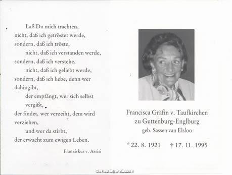 bidprentje Francisca Josepha Maria Sassen (tekst + foto)