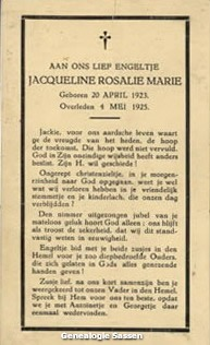 bidprentje Jacqueline Rosalie Marie Sassen (tekst)