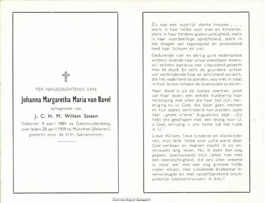 bidprentje Johanna Margaretha Maria van Bavel (tekst)