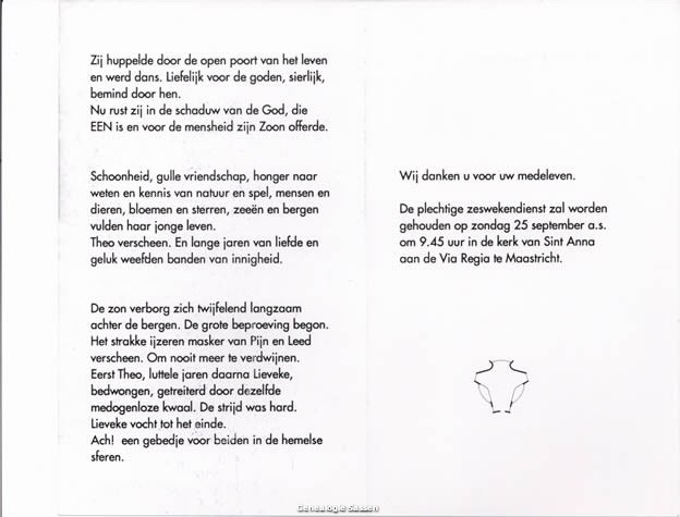 bidprentje Godelieve Maria Hildegarde Sassen (tekst)