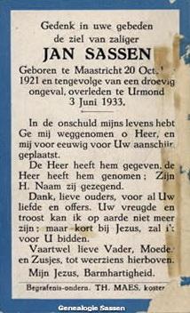 bidprentje Jan Hendrik Marie Eduard Sassen (tekst)