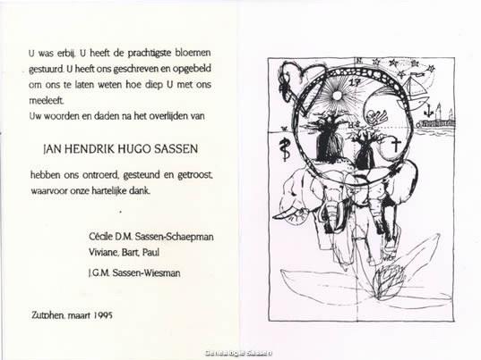 bidprentje Jan Hendrik Hugo Sassen