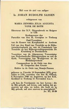 bidprentje  Ir Johan Rudolph Sassen (tekst)