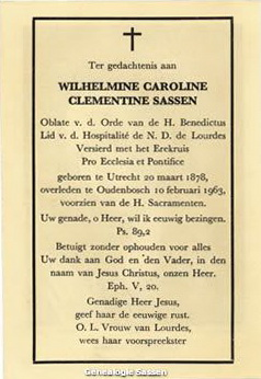 bidprentje Wilhelmine Caroline Clementine Sassen (tekst)