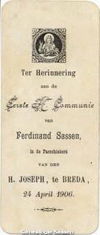 communieprentje Ferd Sassen (tekst)