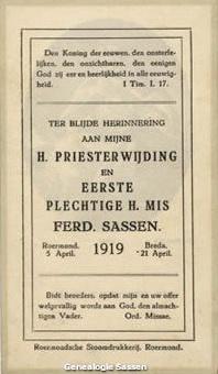 priesterwijding Ferd Sassen (tekst)