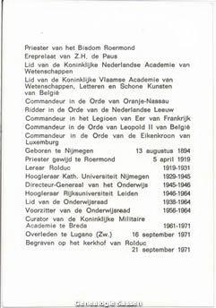 bidprentje Mgr.Prof.Dr. Ferdinand Léon Rudolphe Sassen (tekst)