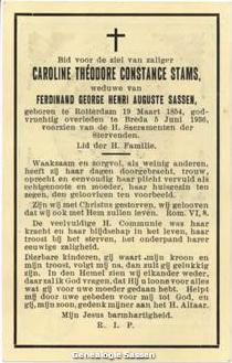 bidprentje Carolina Theodora Constantia Stams (tekst)