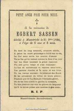 bidprentjes Joseph Ferdinand Egbert Sassen (tekst - Frans)