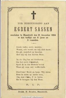 bidprentjes Joseph Ferdinand Egbert Sassen (tekst - NL)