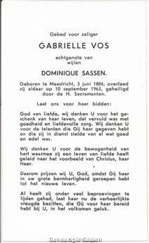 bidprentje Gabrielle Josephine Françoise Vos (tekst)