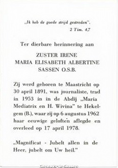 bidprentje Maria Elisabeth Albertina Sassen O.S.B. (tekst)