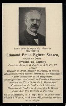 bidprentje Mr. Dr. Edmond Emile Egbert Sassen (foto - Frans)