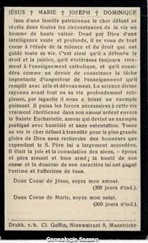 bidprentje Mr. Dr. Edmond Emile Egbert Sassen (tekst - Frans)