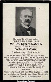 bidprentje Mr. Dr. Edmond Emile Egbert Sassen (Nederlands)