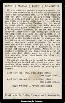 bidprentje Mr. Dr. Edmond Emile Egbert Sassen (tekst - Nederlands)