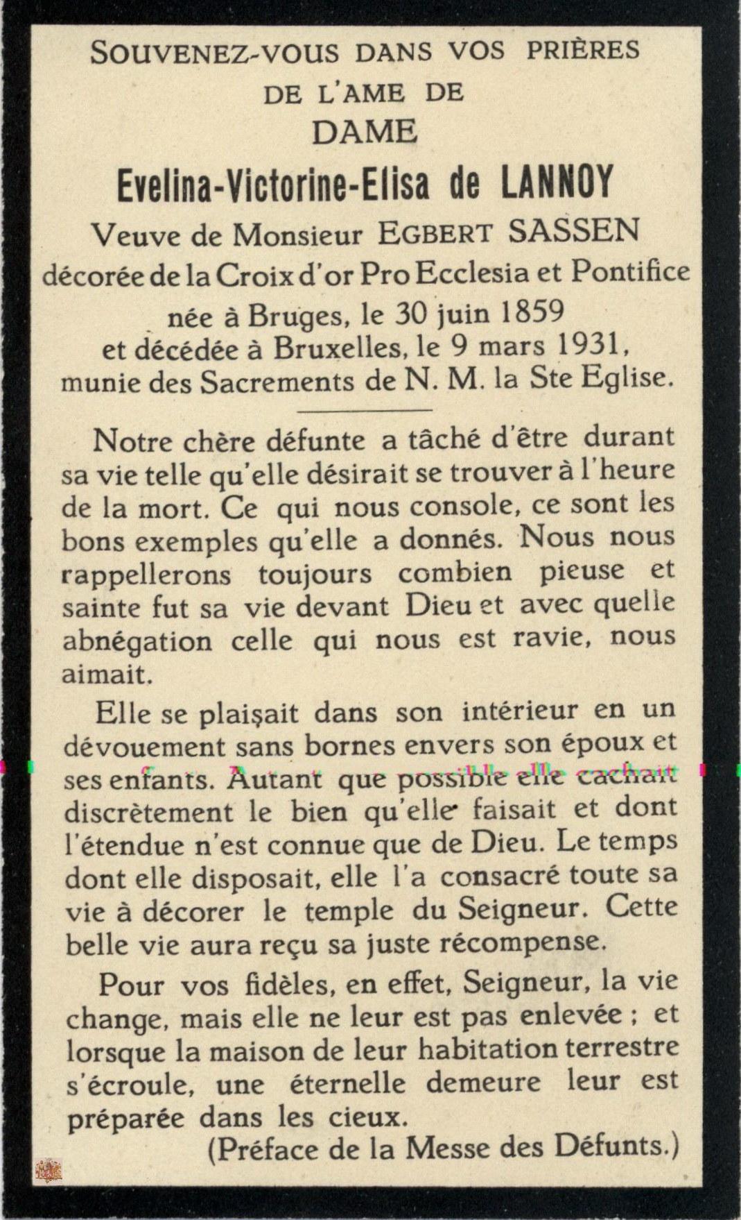bidprentje Evelina Victorina Elisa de Lannoy (tekst)