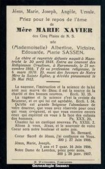 bidprentje  Albertine Victoire Edouarde Marie Sassen (tekst - Frans)