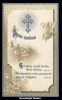 bidprentje  Albertine Victoire Edouarde Marie Sassen (afbeelding - Frans)