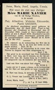 bidprentje  Albertine Victoire Edouarde Marie Sassen (tekst - Nederlands)