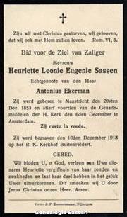 bidprentje Henriette Leonie Eugenie Sassen (tekst)