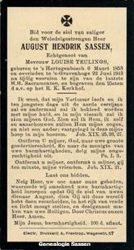 bidprentje  August Hendrik Sassen (tekst)