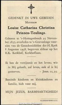 bidprentje Louisa Catharina Christina Teulings (tekst)