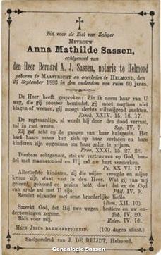 bidprentje Mathilda Anna Sassen (tekst)