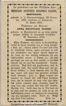 bidprentje Bernardus Antonius Josephus Sassen (tekst)