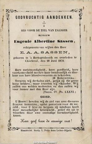 bidprentje Eugenia Albertina Joanna Sassen (tekst)