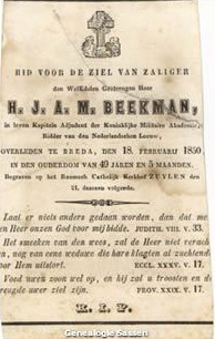 bidprentje  Henricus Albertus Joannes Michael Beekman (tekst)