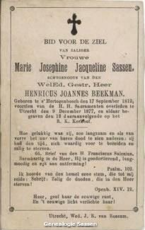 bidprentje  Maria Jacoba Josephina Sassen (tekst)
