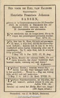 bidprentje  Henriette Françoise Jeanne Sassen (tekst)