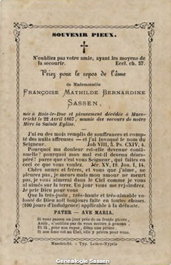 bidprentje  Francisca Mathilda Bernardina Antoinetta Sassen (tekst)