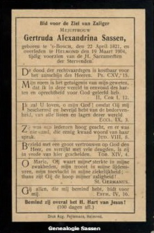 bidprentje  Gertrudis Alexandrina Theodora Sassen (tekst)