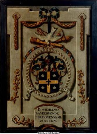 Wapenschild Dr. Willem van der Monde Doek,  1778