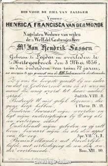 bidprentje  Henrica Francisca van der Monde (tekst)