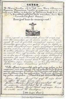 bidprentje  Henrica Francisca van der Monde (afbeelding)