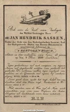 bidprentje mr. Jan Hendrik Sassen (tekst)