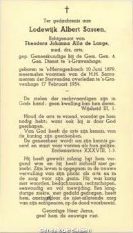 bidprentje Lodewijk Albert Sassen (tekst)