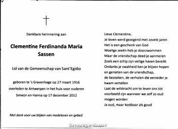 bidprentje Clementine Ferdinanda Maria Sassen (tekst)